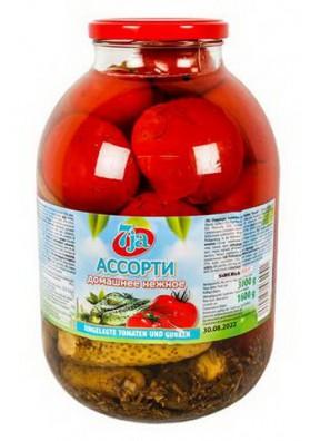 Surtido de tomate y pepinos DOMASHNEE 2x3000gr 7JA
