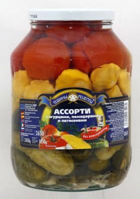 Surtido de tomate+pepinos+calabazas soneteras concervado 6x2550gr TR