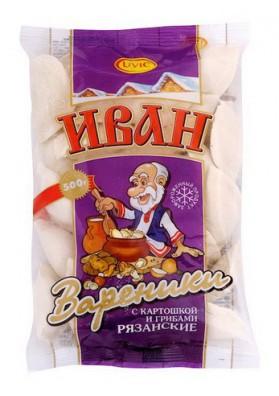 Вареники картошка с грибами  ИВАН РЯЗАНСКИЕ 500гр  UVIC