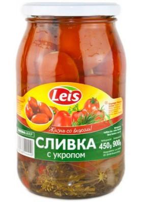 Томаты консервированные с укропом  СЛИВКИ 12x900гр LEIS