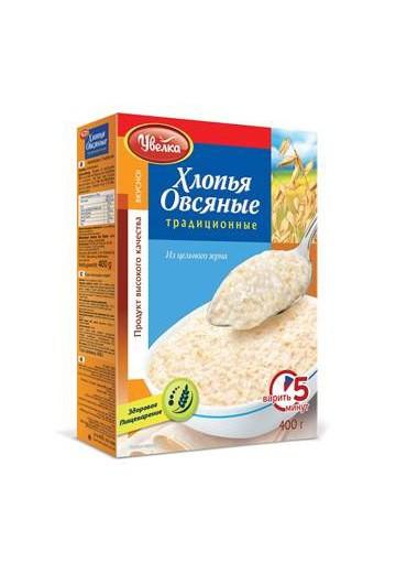Хлопья овсяные Традиционные 14х400гр.UVELKA