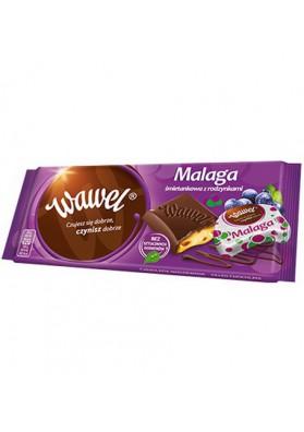Chocolate de leche con pasas de uvaMALAGA 16x100gr WAWEL
