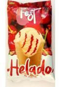 Helado con sabor de vanilla y relleno de guinda 30x140ml.FEST