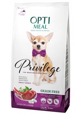 Comida seca completa para perros adultos pequeños CON CORDERO Y ARROZ 1,5kg.OPTI MEAL