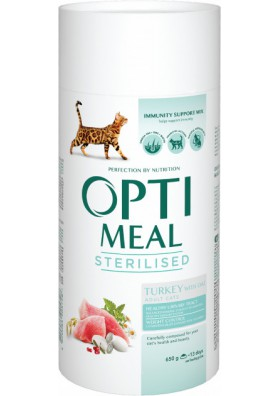 Comida completa seca para gatos esterilizados PAVO Y AVENA 650gr.OPTI MEAL