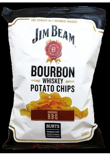 Patatas chips fritas caseras BURTS con sabor a whisky bourbon 120gr.JIM BEAM