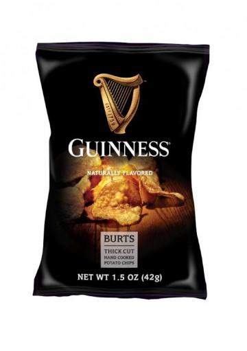 Patatas chips fritas a mano BURTS con sabor natural 42gr.GUINNESS