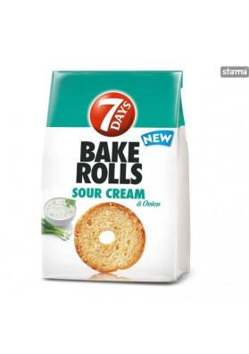 Pan frito BAKE ROLLS con sabor a crema agria y cebolla 12x80gr.7DAYS