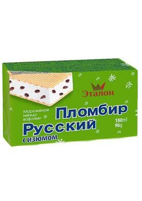Helado sandwich RUSSKIY PLOMBIR con pasas 180ml.ETALON