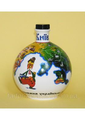 Shtoff para vodka  Globe  decorativo de ceramica