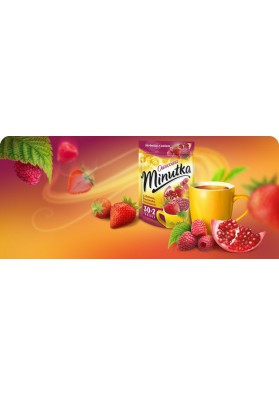 Te MINUTKA con sabor de frambuesa,fresa,granada 32x2g MOKATE
