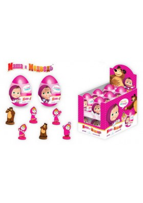 Huevo plastico con regalo i bombones 24x10gr MASHA I MEDVED