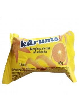 Requeson dulce bañado en chocolate con sabor a naranja 40x45gr.KARUMS