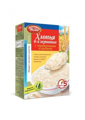 Copos de 4 cereales con salvado de trigo 12x350gr.UVELKA