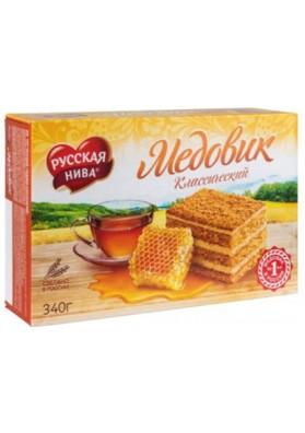 Tarta de mantequilla MEDOVIK (Clasica) con miel 340gr.RUSSKAYA NIVA